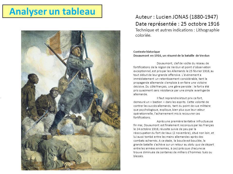 Analyser un tableau Auteur : Lucien JONAS (1880-1947) Date représentée : 25 octobre 1916 Technique et autres indications : Lithographie coloriée.