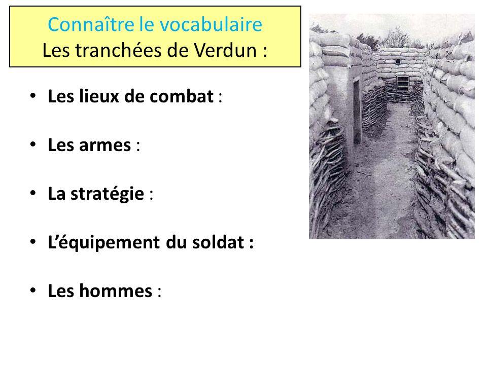 Connaître le vocabulaire Les tranchées de Verdun :