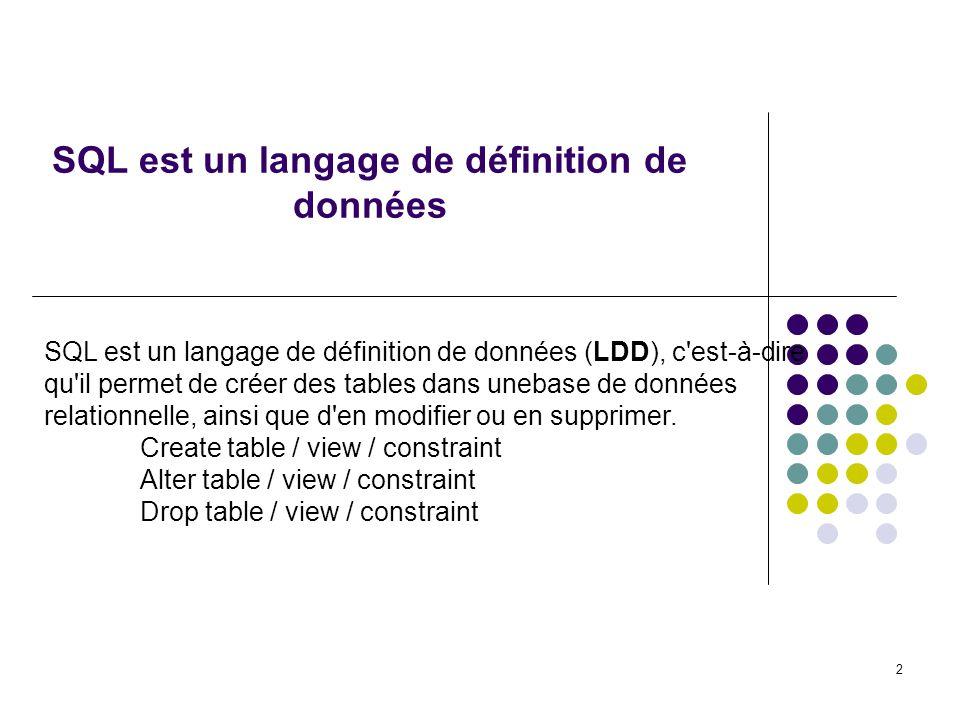 SQL est un langage de définition de données