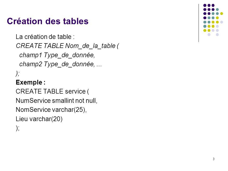 Création des tables La création de table :
