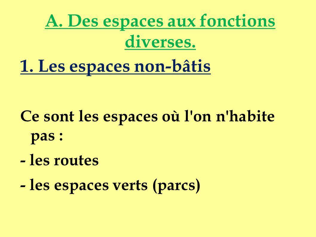 A. Des espaces aux fonctions diverses.