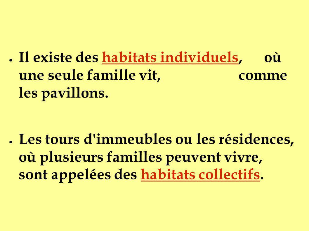 Il existe des habitats individuels, où une seule famille vit, comme les pavillons.