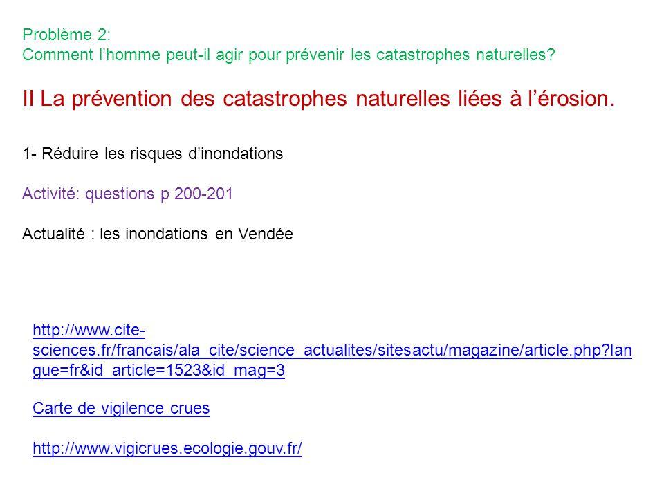 II La prévention des catastrophes naturelles liées à l'érosion.