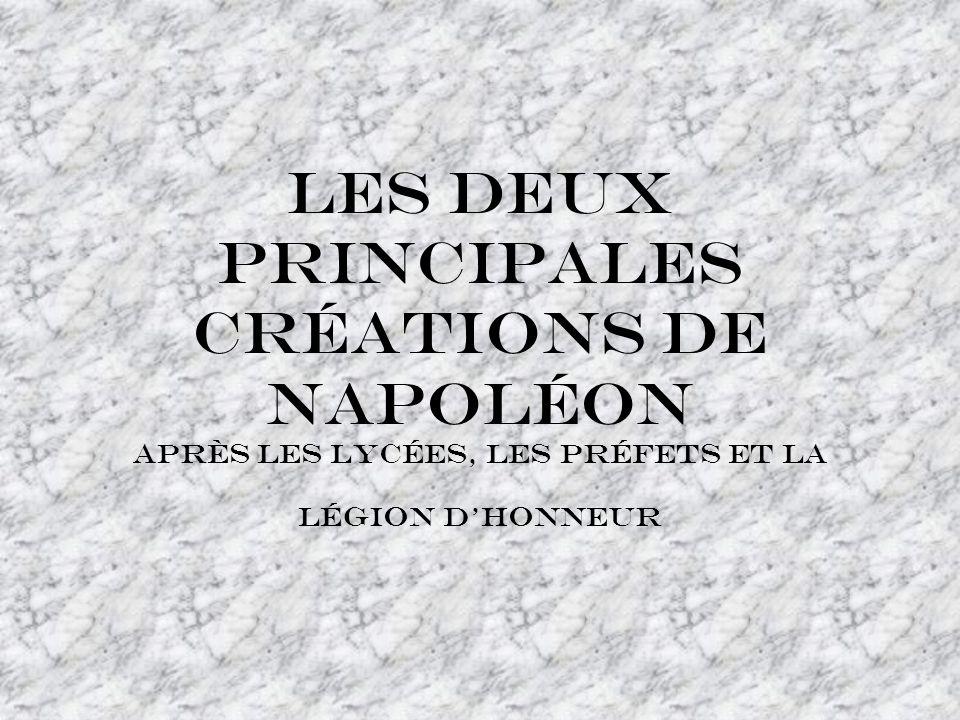Les deux principales créations de Napoléon après les lycées, les préfets et la légion d'honneur
