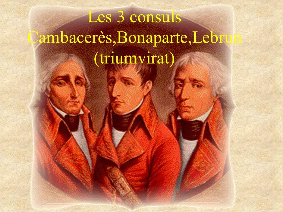 Les 3 consuls Cambacerès,Bonaparte,Lebrun (triumvirat)