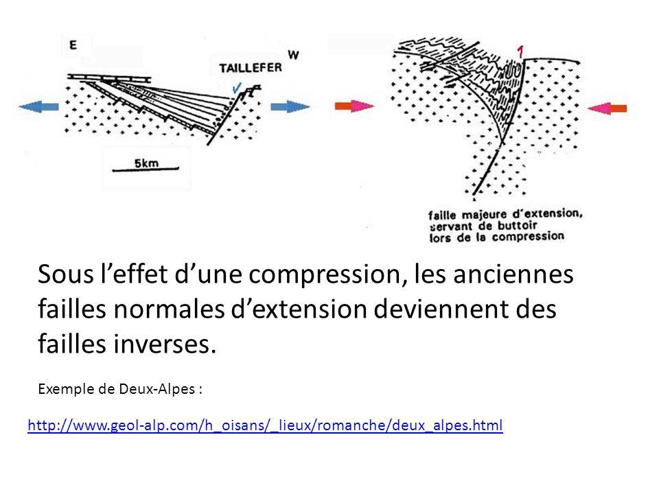 Sous l'effet d'une compression, les anciennes failles normales d'extension deviennent des failles inverses.