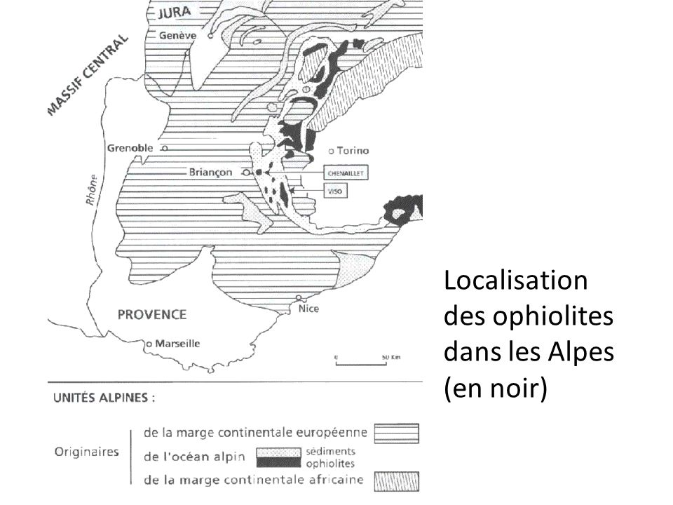 Localisation des ophiolites dans les Alpes (en noir)