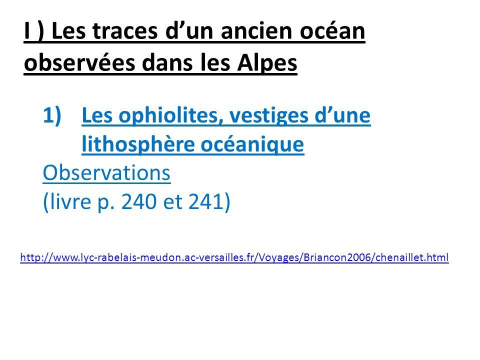 I ) Les traces d'un ancien océan observées dans les Alpes
