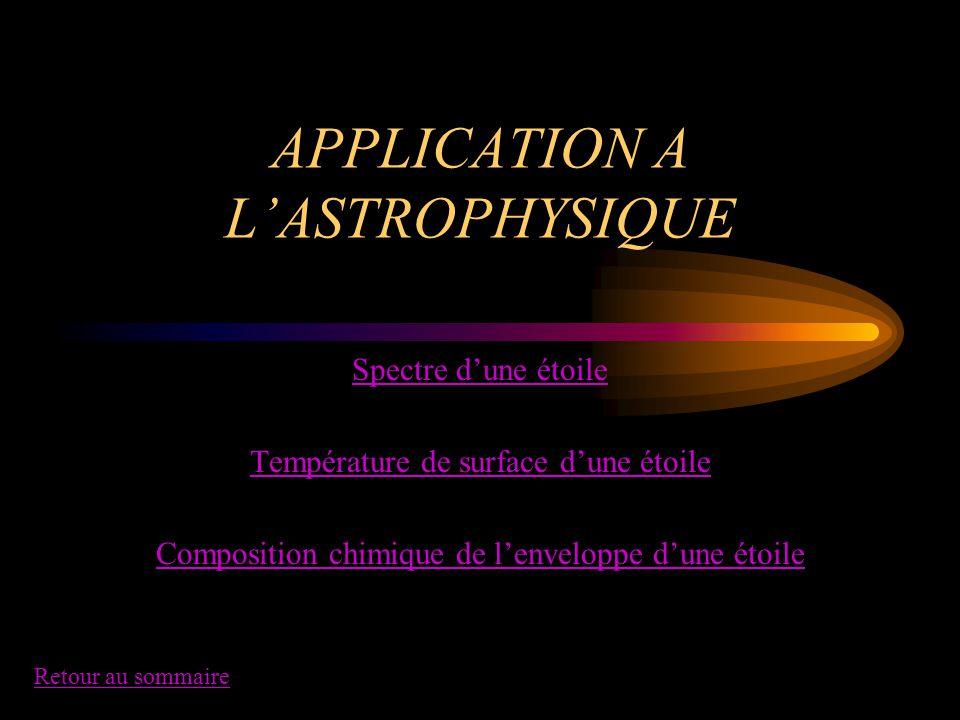 APPLICATION A L'ASTROPHYSIQUE