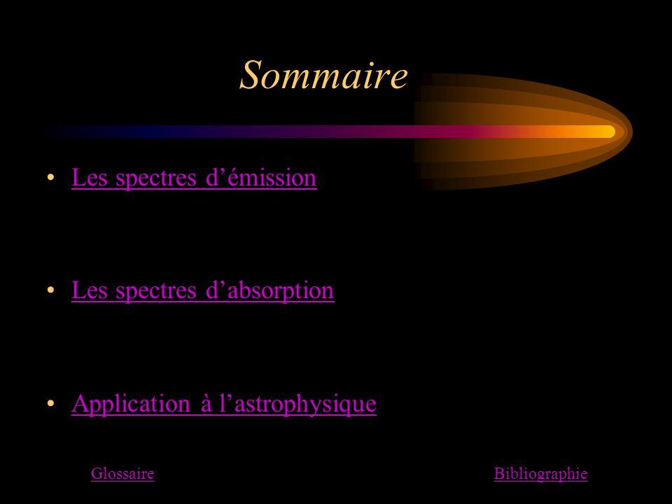 Sommaire Les spectres d'émission Les spectres d'absorption