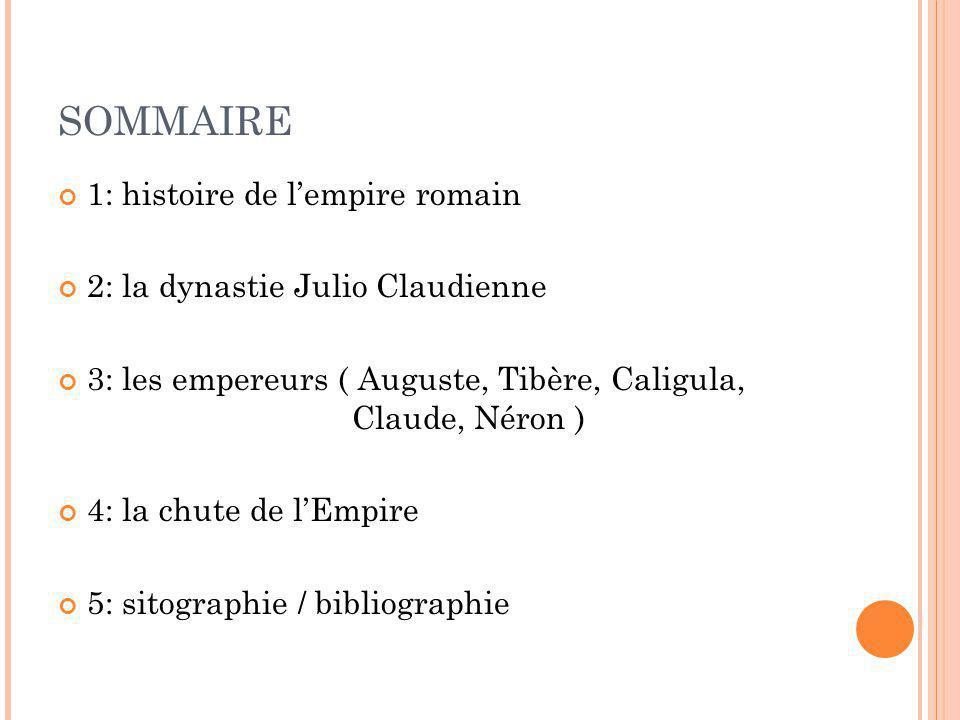 SOMMAIRE 1: histoire de l'empire romain