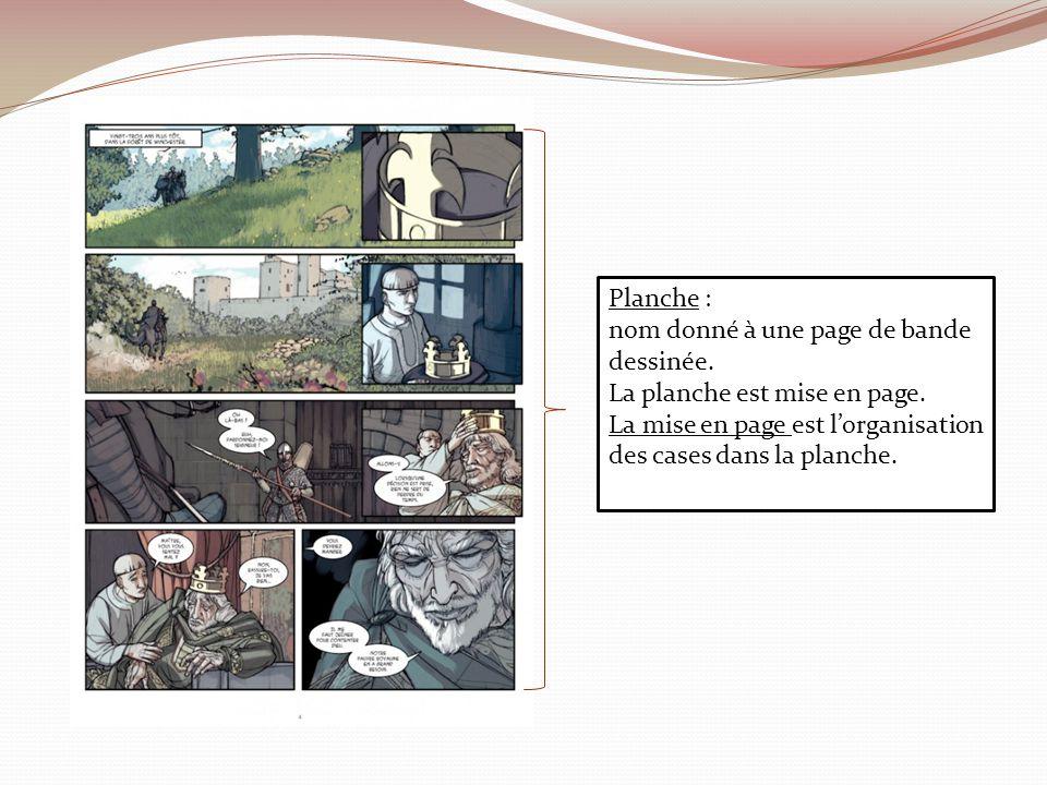 Planche : nom donné à une page de bande dessinée. La planche est mise en page.
