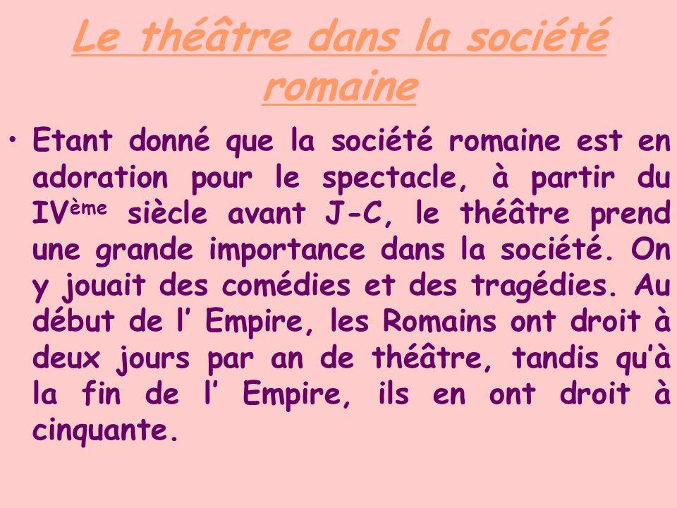 Le théâtre dans la société romaine