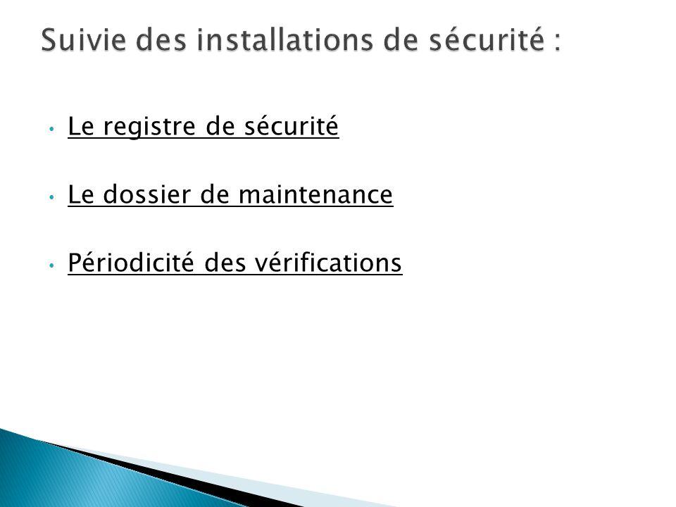 Suivie des installations de sécurité :