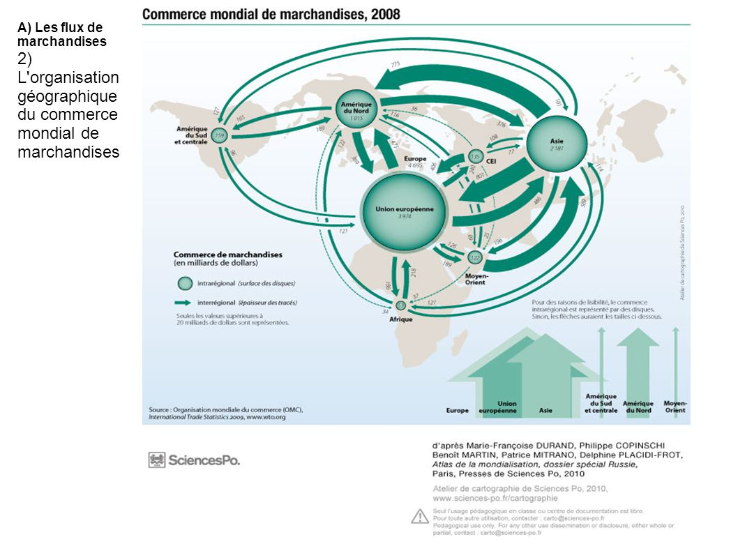 2) L organisation géographique du commerce mondial de marchandises