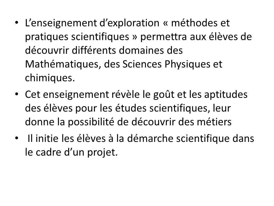 L'enseignement d'exploration « méthodes et pratiques scientifiques » permettra aux élèves de découvrir différents domaines des Mathématiques, des Sciences Physiques et chimiques.