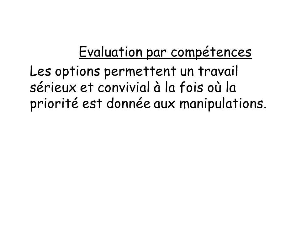 Evaluation par compétences Les options permettent un travail sérieux et convivial à la fois où la priorité est donnée aux manipulations.