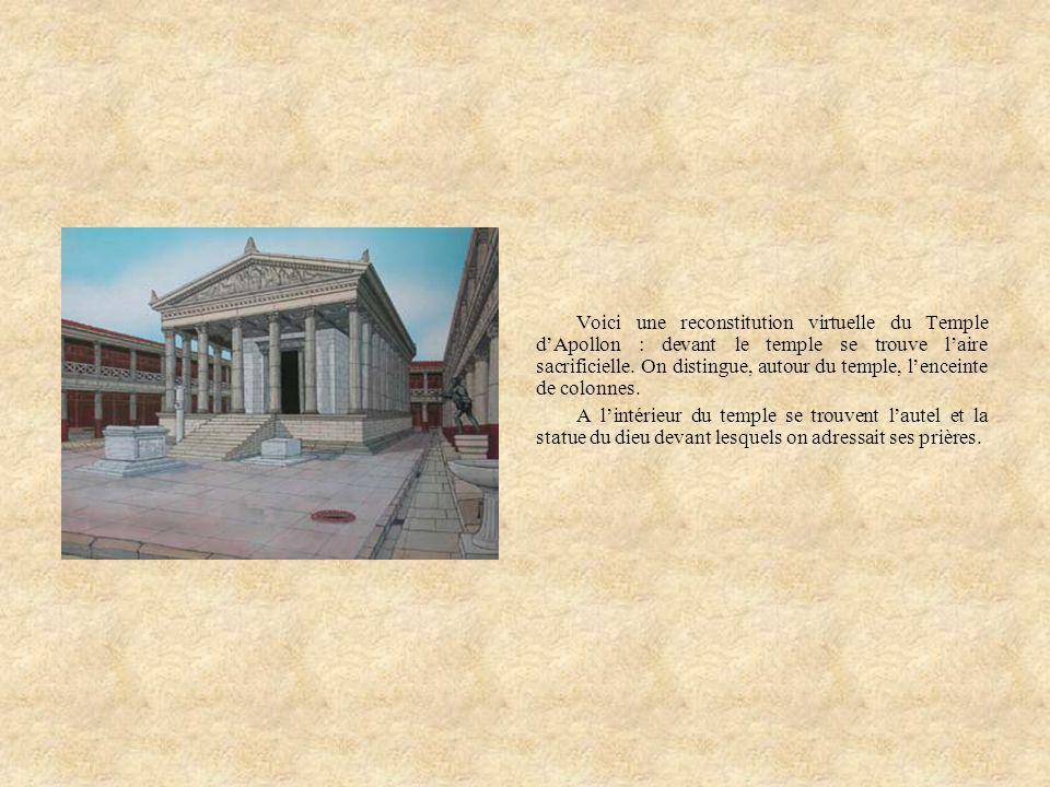 Voici une reconstitution virtuelle du Temple d'Apollon : devant le temple se trouve l'aire sacrificielle. On distingue, autour du temple, l'enceinte de colonnes.