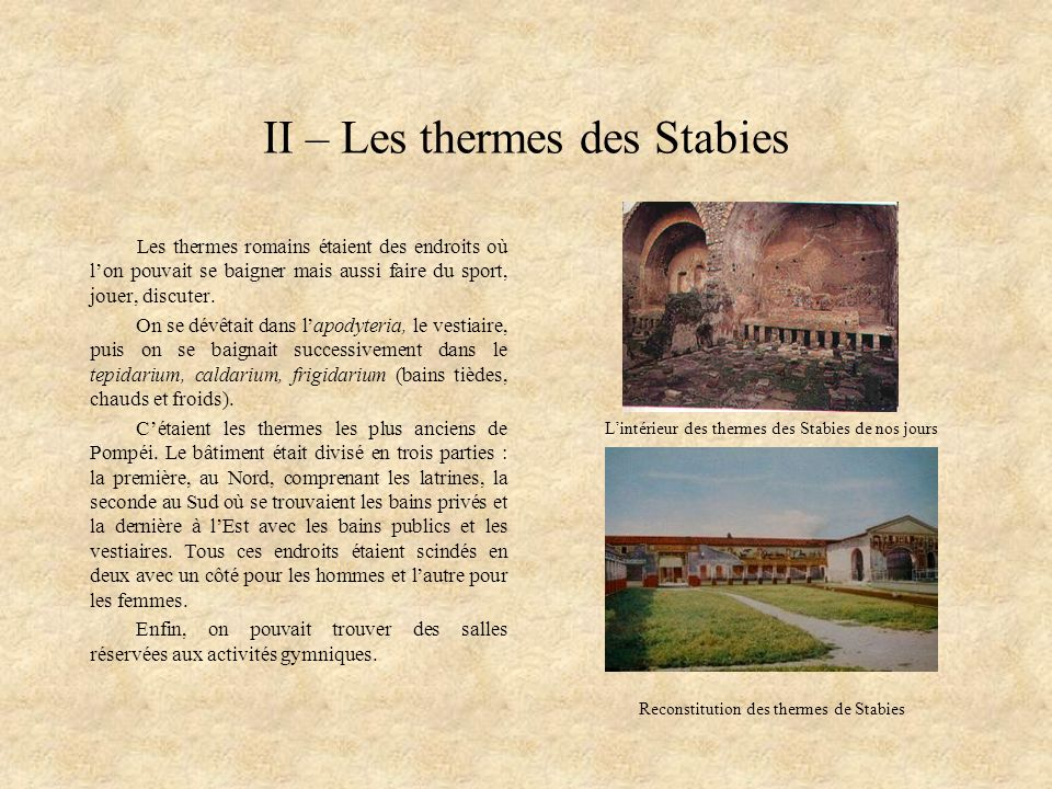 II – Les thermes des Stabies