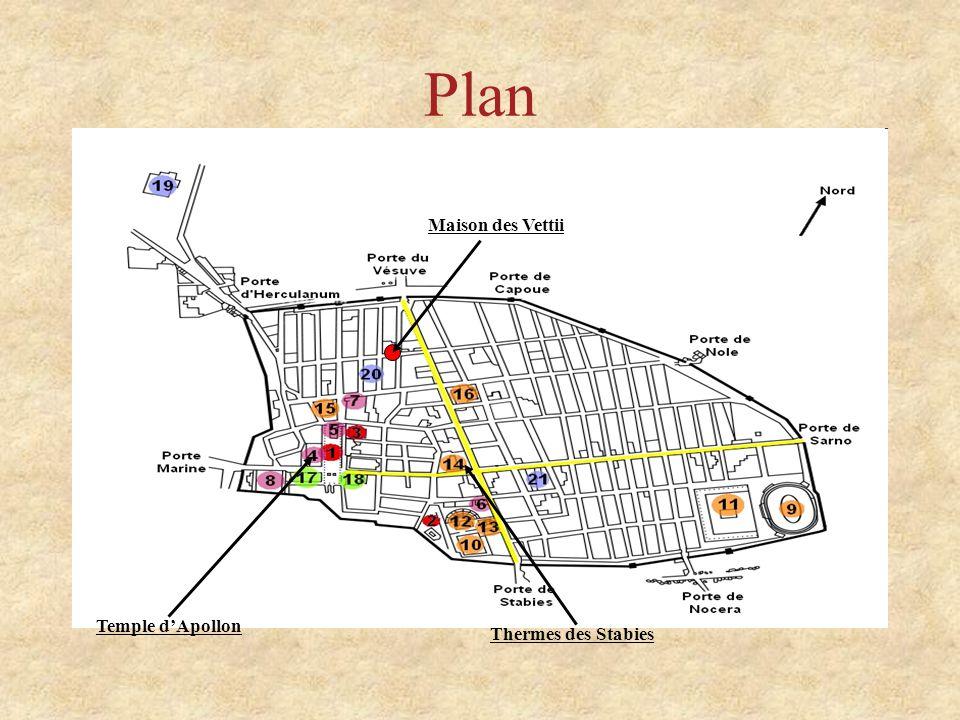 Plan Maison des Vettii Temple d'Apollon Thermes des Stabies