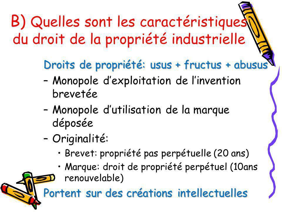B) Quelles sont les caractéristiques du droit de la propriété industrielle