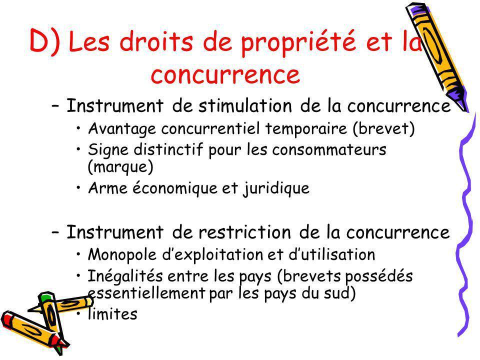 D) Les droits de propriété et la concurrence
