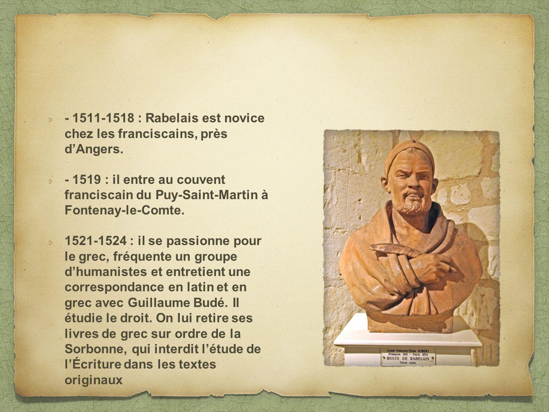 - 1511-1518 : Rabelais est novice chez les franciscains, près d'Angers.