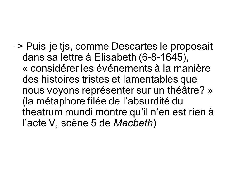 -> Puis-je tjs, comme Descartes le proposait dans sa lettre à Elisabeth (6-8-1645), « considérer les événements à la manière des histoires tristes et lamentables que nous voyons représenter sur un théâtre » (la métaphore filée de l'absurdité du theatrum mundi montre qu'il n'en est rien à l'acte V, scène 5 de Macbeth)