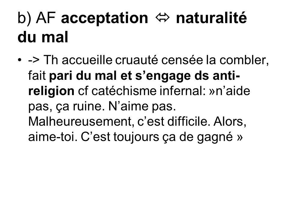 b) AF acceptation  naturalité du mal