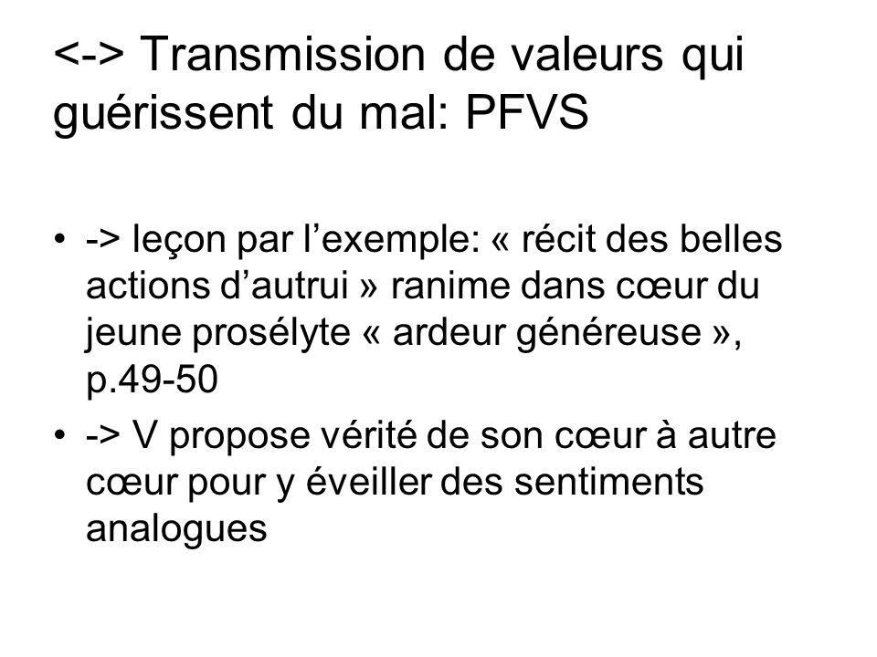 <-> Transmission de valeurs qui guérissent du mal: PFVS