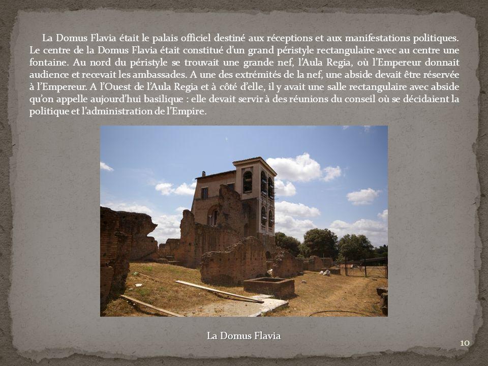 La Domus Flavia était le palais officiel destiné aux réceptions et aux manifestations politiques. Le centre de la Domus Flavia était constitué d'un grand péristyle rectangulaire avec au centre une fontaine. Au nord du péristyle se trouvait une grande nef, l'Aula Regia, où l'Empereur donnait audience et recevait les ambassades. A une des extrémités de la nef, une abside devait être réservée à l'Empereur. A l'Ouest de l'Aula Regia et à côté d'elle, il y avait une salle rectangulaire avec abside qu'on appelle aujourd'hui basilique : elle devait servir à des réunions du conseil où se décidaient la politique et l'administration de l'Empire.
