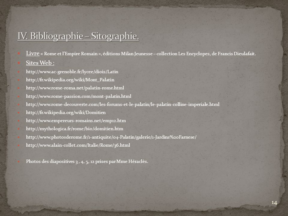 IV. Bibliographie – Sitographie.