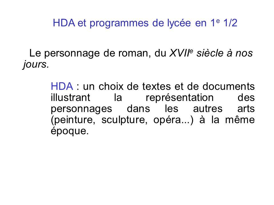 HDA et programmes de lycée en 1e 1/2