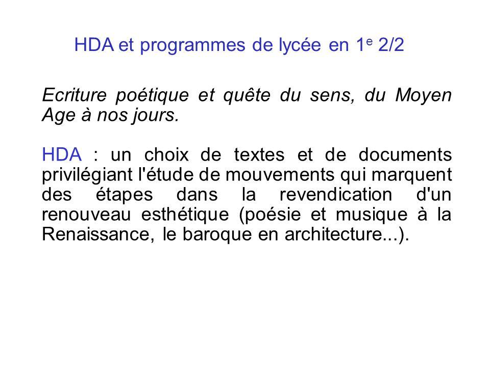 HDA et programmes de lycée en 1e 2/2