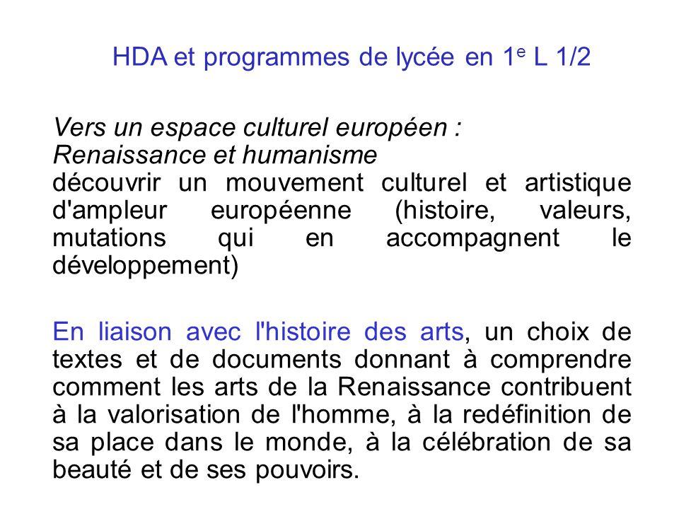 HDA et programmes de lycée en 1e L 1/2