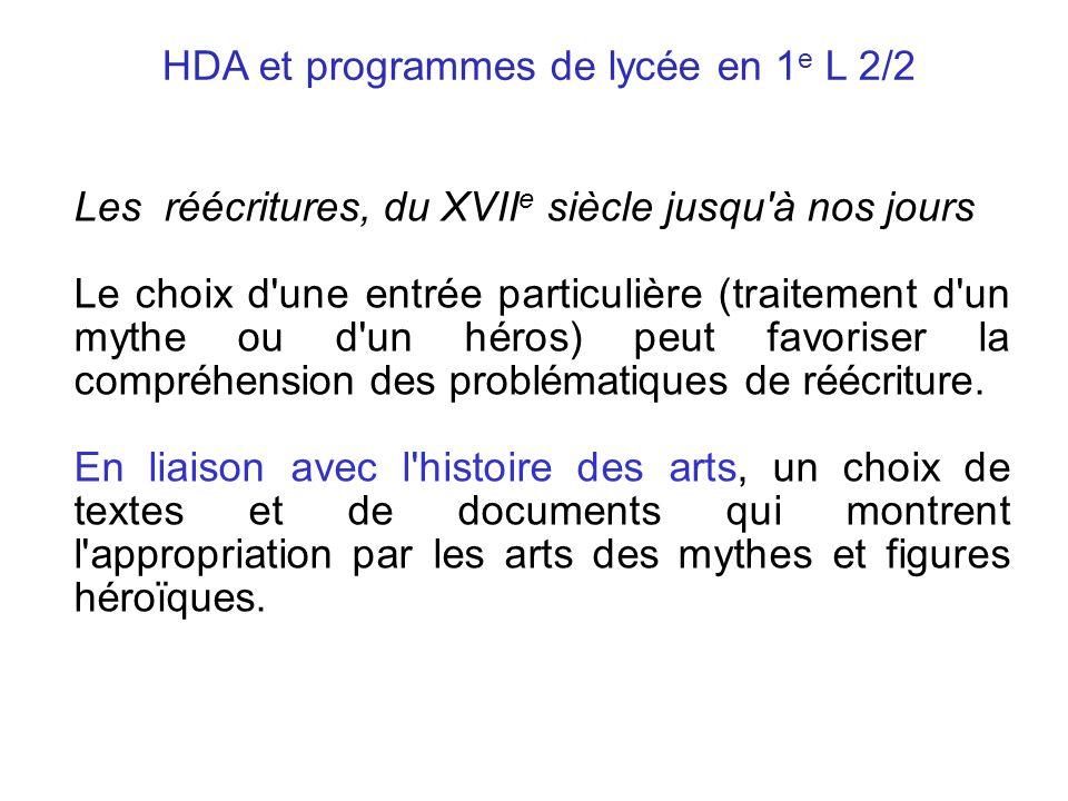 HDA et programmes de lycée en 1e L 2/2
