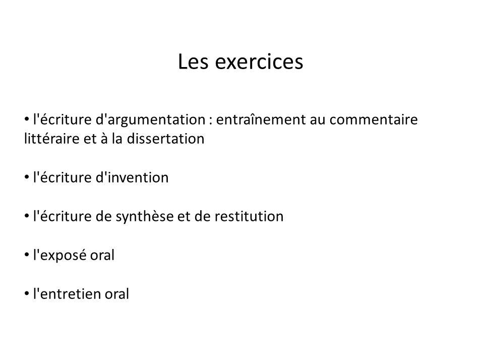 Les exercices l écriture d argumentation : entraînement au commentaire littéraire et à la dissertation.