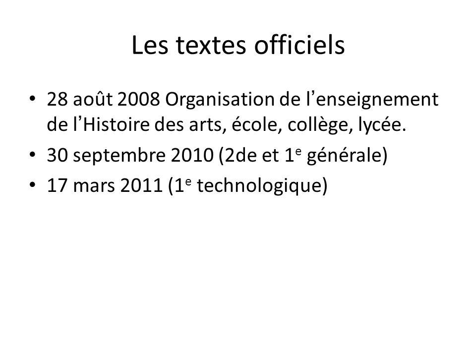 Les textes officiels 28 août 2008 Organisation de l'enseignement de l'Histoire des arts, école, collège, lycée.