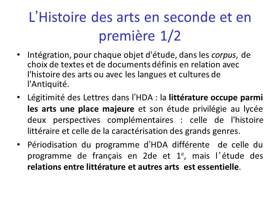 L'Histoire des arts en seconde et en première 1/2