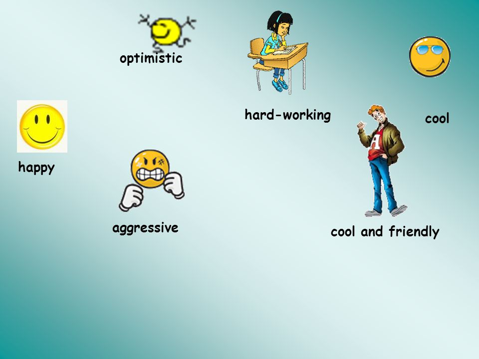 optimistic hard-working cool happy aggressive cool and friendly