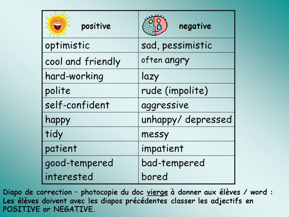 optimistic sad, pessimistic cool and friendly hard-working lazy polite