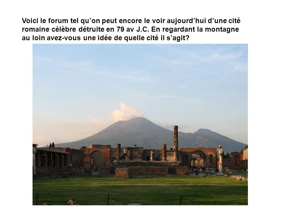 Voici le forum tel qu'on peut encore le voir aujourd'hui d'une cité romaine célèbre détruite en 79 av J.C.