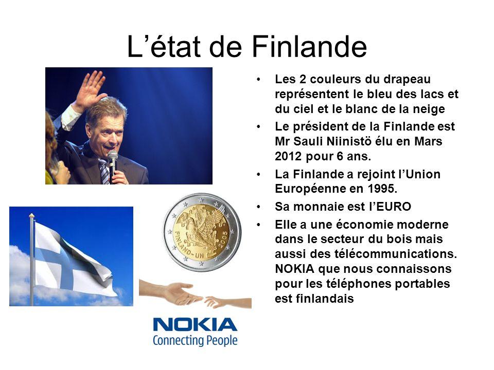 L'état de Finlande Les 2 couleurs du drapeau représentent le bleu des lacs et du ciel et le blanc de la neige.