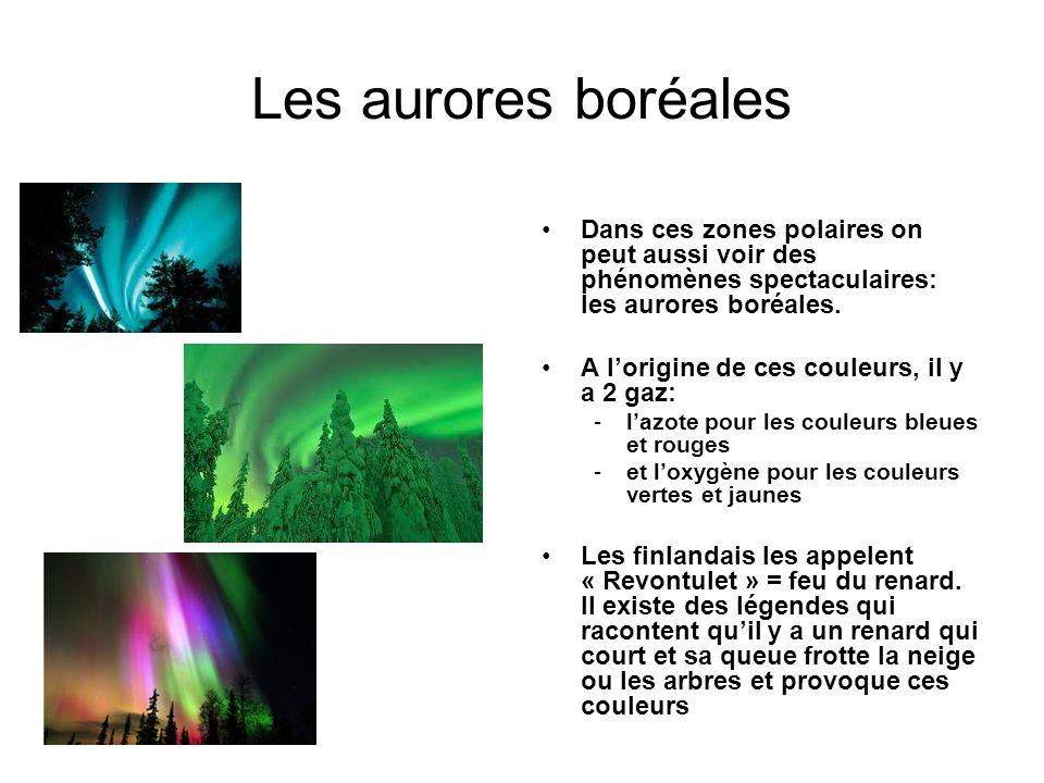 Les aurores boréales Dans ces zones polaires on peut aussi voir des phénomènes spectaculaires: les aurores boréales.