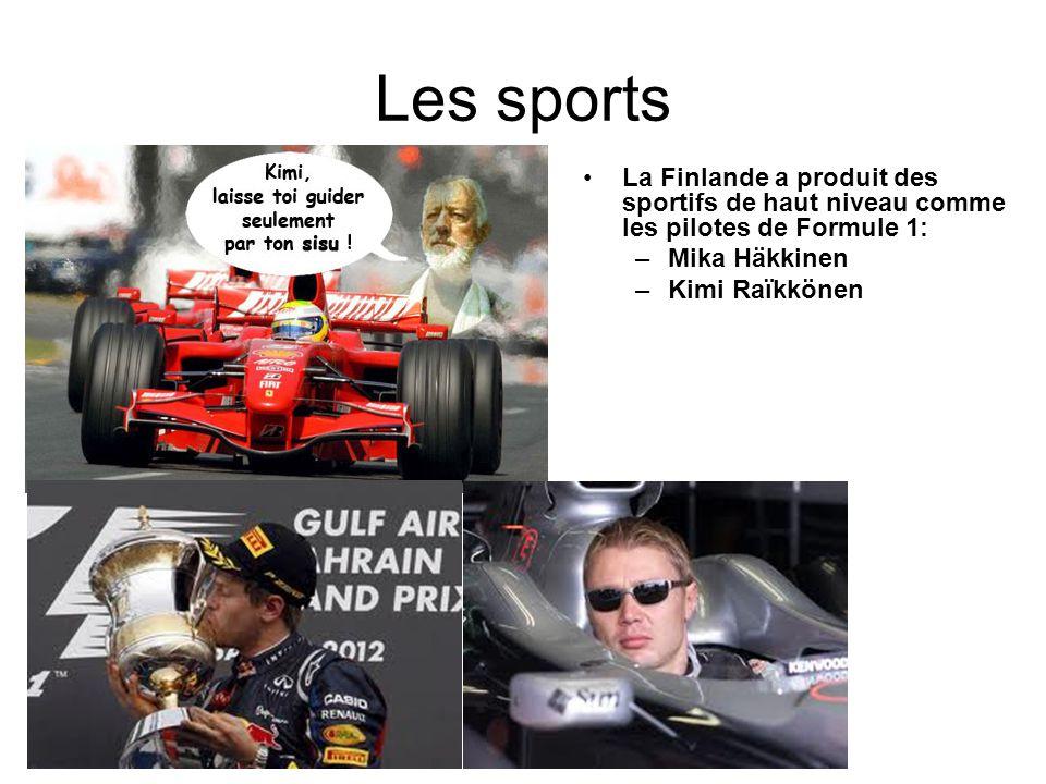Les sports La Finlande a produit des sportifs de haut niveau comme les pilotes de Formule 1: Mika Häkkinen.