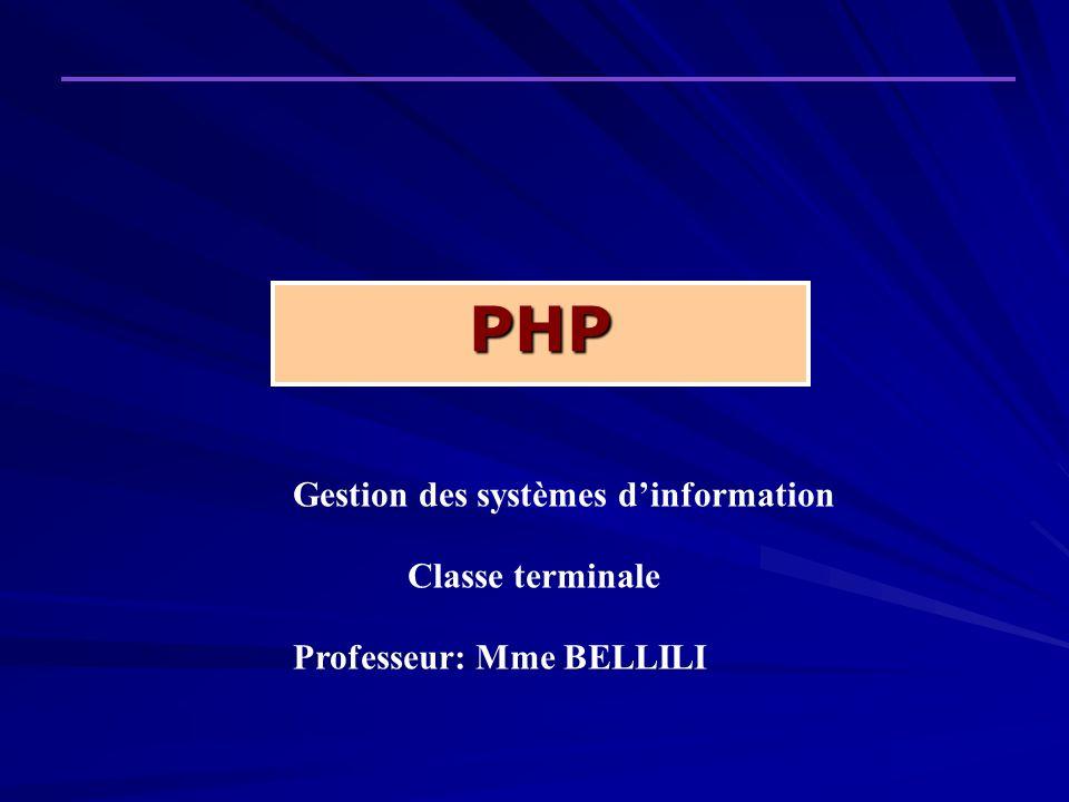 PHP Gestion des systèmes d'information Classe terminale