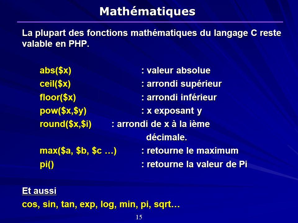 Mathématiques La plupart des fonctions mathématiques du langage C reste valable en PHP. abs($x) : valeur absolue.