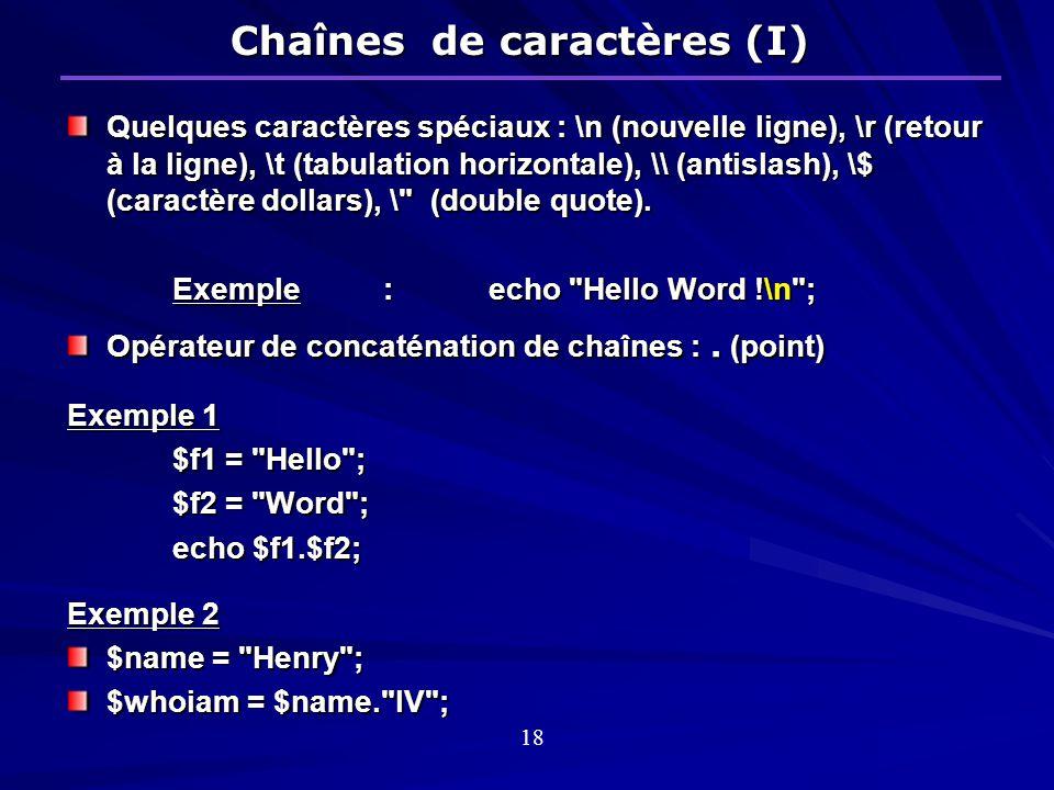 Chaînes de caractères (I)