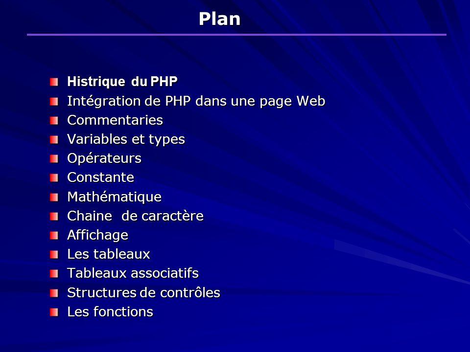 Plan Histrique du PHP Intégration de PHP dans une page Web
