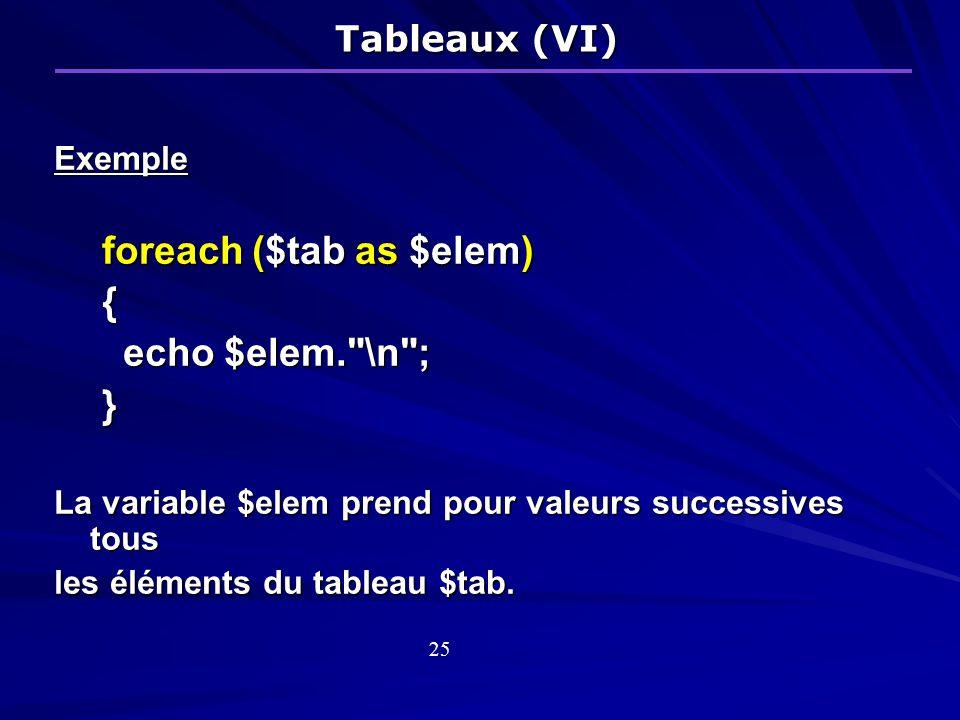 foreach ($tab as $elem) { echo $elem. \n ; }